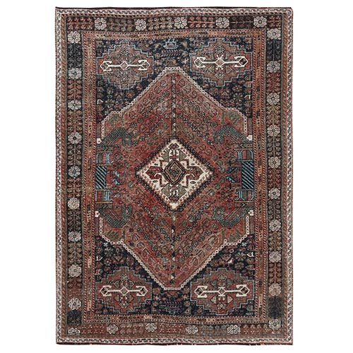 Bohemian Semi Antique Persian Shiraz Hand Knotted Sheared Low Organic Wool Clean Oriental