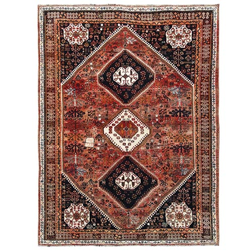 Vintage and Worn Down Persian Qashqai with Sunset Colors Geometric Design Hand Knotted Clean Oriental