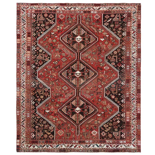 Bohemian Red Persian Shiraz Vintage Cropped Thin Good Condition Natural Wool Clean Hand Knotted Squarish Oriental Rug