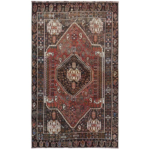 Bohemian Semi Antique Persian Shiraz Red Clean Cropped Thin Organic Wool Hand Knotted Oriental