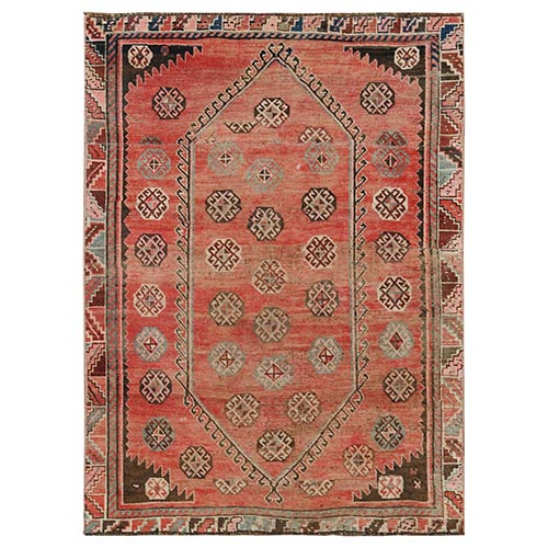 Light Red Vintage Persian Shiraz Geometric All Over Design Hand Knotted Worn Down Clean Oriental