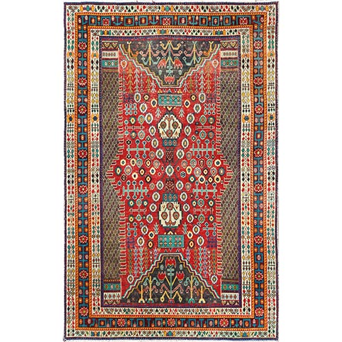 Colorful Semi Antique Persian Shiraz Hand Knotted Sheared Low Organic Wool Clean Oriental