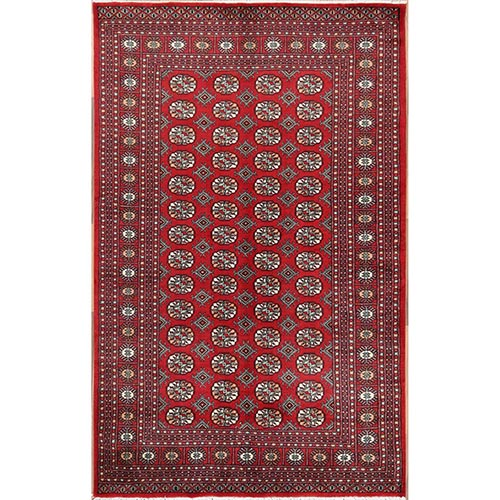 Red Fine Mori Bokara Pure Wool Elephant Feet Design Hand Knotted Oriental Rug