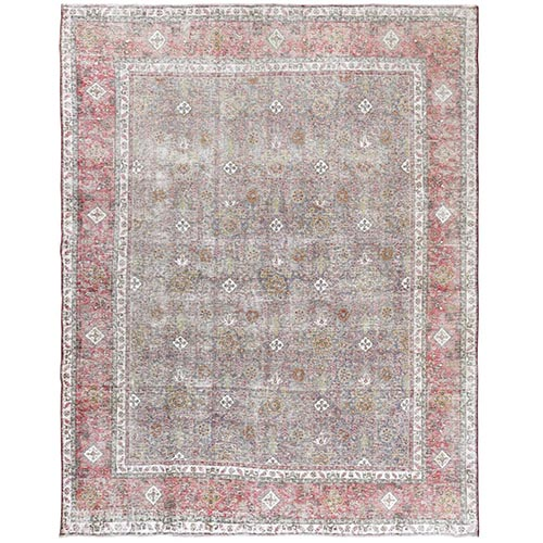 Vintage Look Gray Persian Tabriz All Over Design Distressed Bohemian Natural Wool Clean Hand Knotted Oriental