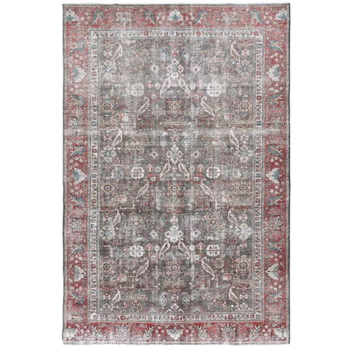 Dark Gray Persian Tabriz All Over Design Vintage Look Worn Down Bohemian Clean Natural Wool Hand Knotted Oriental