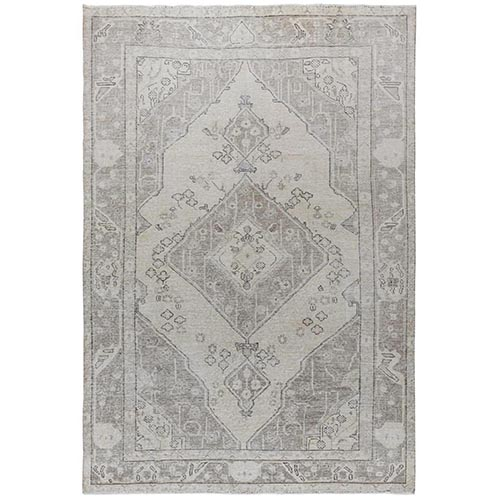 Light Brown Persian Tabriz With Medallion Design Old Distressed Shabby Chic Organic Wool Clean Hand Knotted Oriental