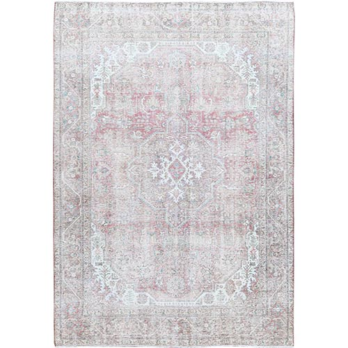 Semi Antique Hand Knotted Pink Persian Tabriz With Medallion Design Worn Down Shabby Chic Clean Pure Wool Oriental