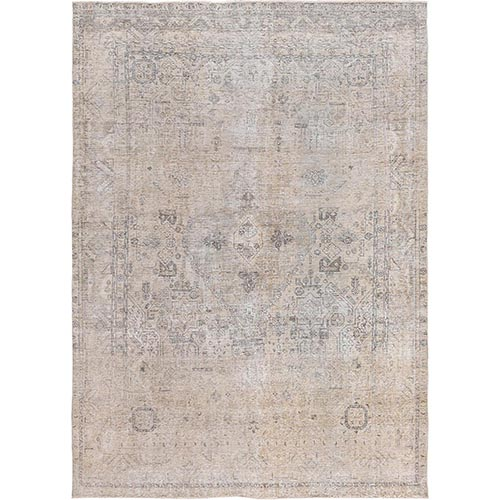 Beige Clean Organic Wool Bohemian Worn Down Semi Antique Persian Tabriz Medallion Design Hand Knotted Oriental