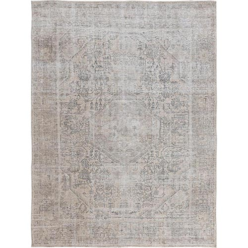 Grey Clean Organic Wool Bohemian Worn Down Semi Antique Persian Tabriz Medallion Design Hand Knotted Oriental
