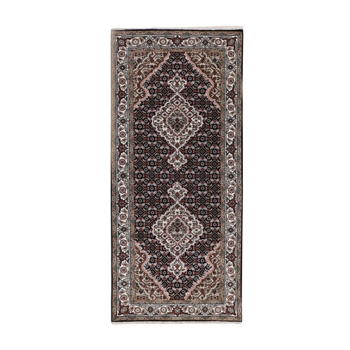 Black Tabriz Mahi Fish Design Wool And Silk Runner Hand Knotted Oriental Rug