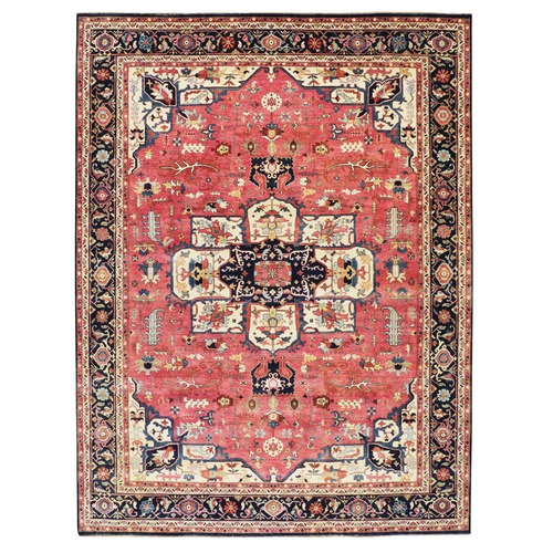 Red Antiqued Heriz Re-creation Hand Knotted Pure Wool Oriental Rug