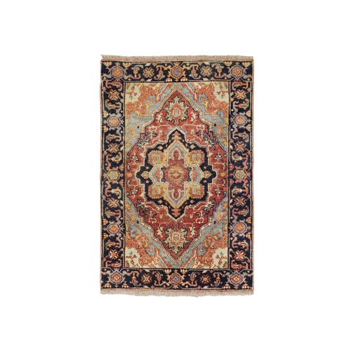 Antiqued Heriz Re-creation Pure Wool Hand Knotted Oriental Rug