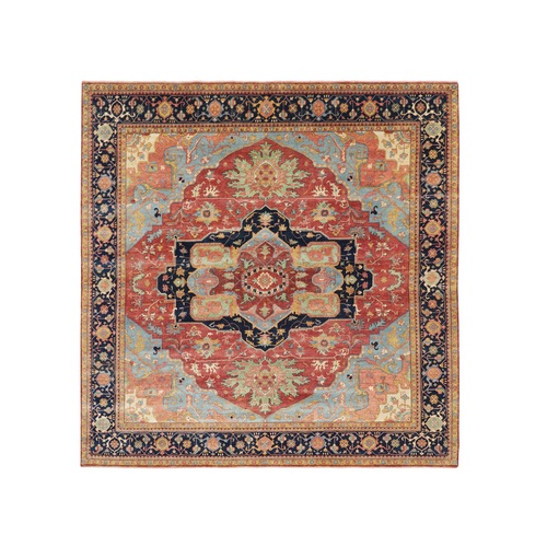 Square Antiqued Heriz Re-creation Pure Wool Hand Knotted Oriental Rug