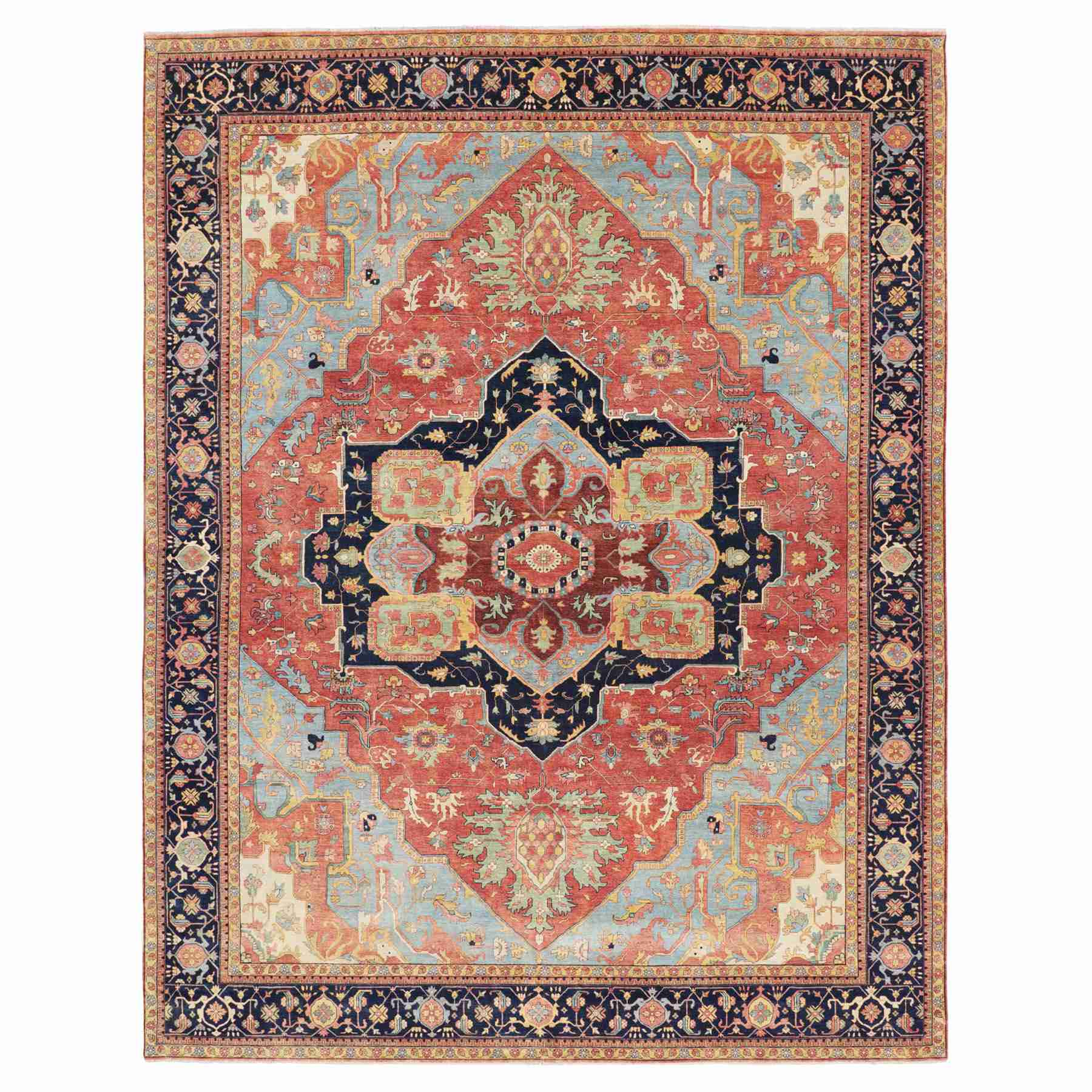 Oversized Antiqued Heriz Re-creation Pure Wool Hand Knotted Oriental Rug