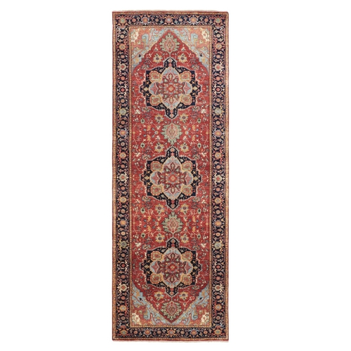 Antiqued Heriz Re-creation Wide Runner Pure Wool Hand Knotted Oriental Rug