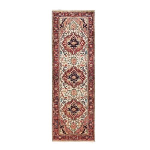 Ivory Antiqued Heriz Re-Creation Runner Hand Knotted Pure Wool Oriental Rug