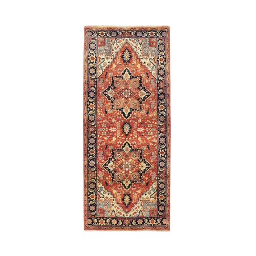 Antiqued Heriz Re-Creation Runner Hand Knotted Pure Wool Oriental Rug