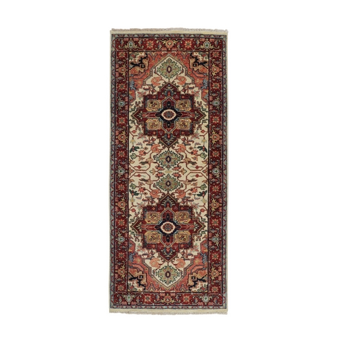 Ivory Antiqued Heriz Re-Creation Hand Knotted Pure Wool Oriental Rug