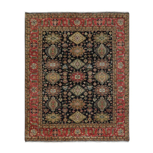 Black Karajeh Design Pure Wool Hand Knotted Oriental Rug