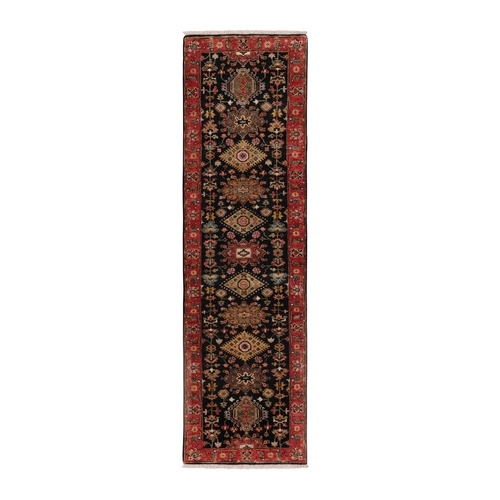 Black Karajeh Design Runner Hand Knotted Pure Wool Oriental Rug