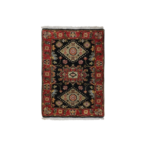 Black Karajeh Design Hand Knotted Pure Wool Oriental Rug