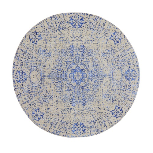 Blue Wool and Silk Mamluk Design Jacquard Hand Loomed Round Oriental Rug