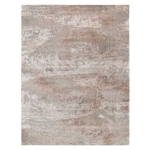 Oversized Champagne Color Shades Abstract Design Modern Wool and Silk Hand Knotted Oriental Rug