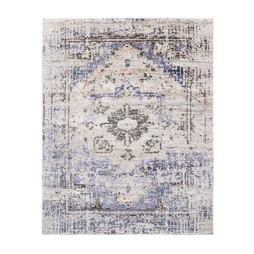 Colorful Erased Heriz Design Silk with Textured Wool Hand Knotted Oriental