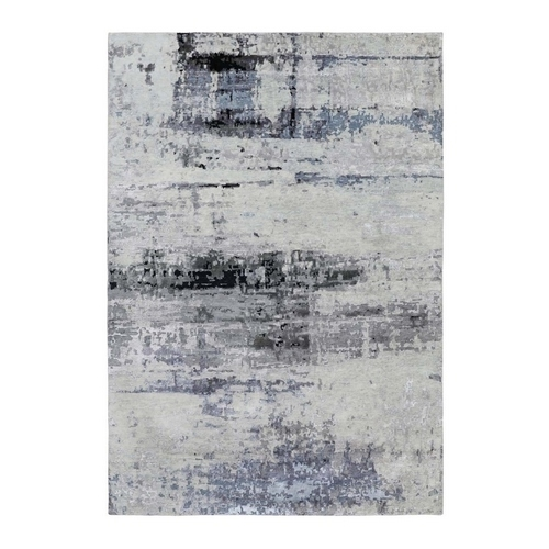 Gray Hi low Pile Abstract Design Wool And Silk Hand Knotted Oriental Rug
