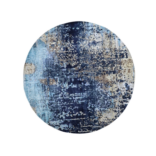 Blue Round Mosaic Design Wool And Silk Hand Knotted Oriental Rug