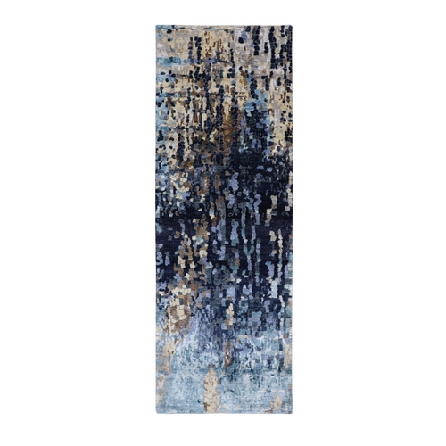 Blue Mosaic Design Runner Wool and Silk Hand Knotted Oriental Rug