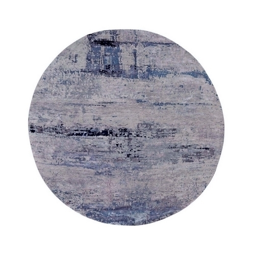 Gray Abstract Design Round Wool And Silk Hand Knotted Oriental Rug