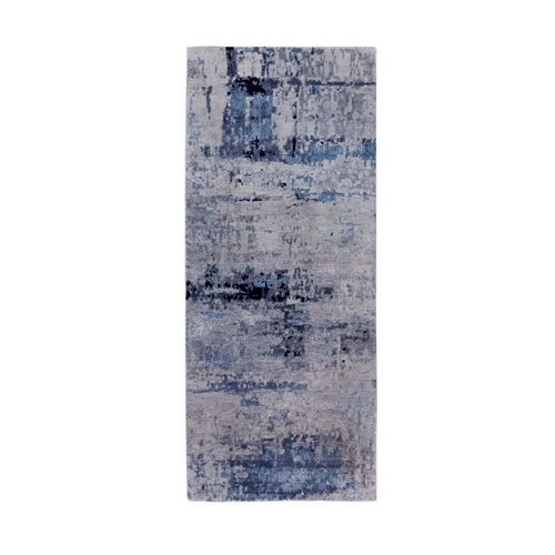 Gray Abstract Design Runner Wool And Silk Hand Knotted Oriental Rug