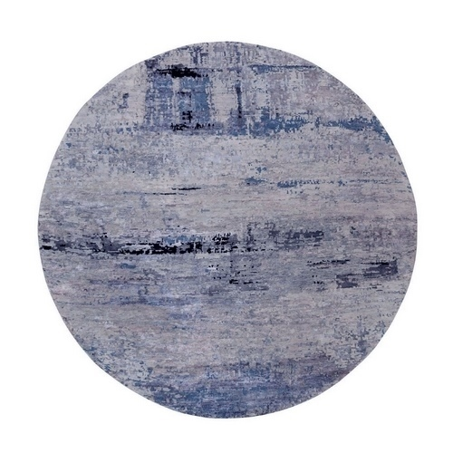 Round Silver, Blue Wool & Silk Abstract Design Hand Knotted Oriental Modern Rug
