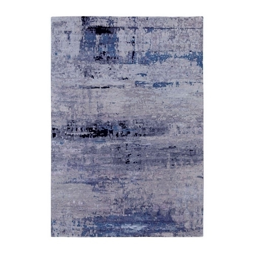 Abstract Design Modern Silver-Blue Hand Knotted Wool & Silk Hi-Low Pile Oriental Rug