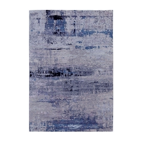 Wool & Silk Abstract Design Hi- Low Pile Silver, Blue Hand Knotted Oriental Rug