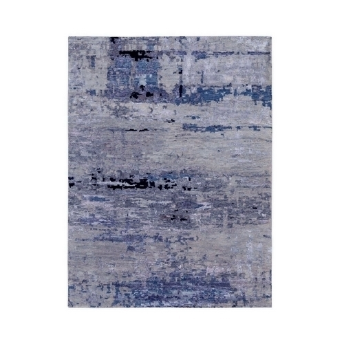 Abstract Design Silver- Blue Hand Knotted Wool & Silk Hi-Low Pile Oriental Rug