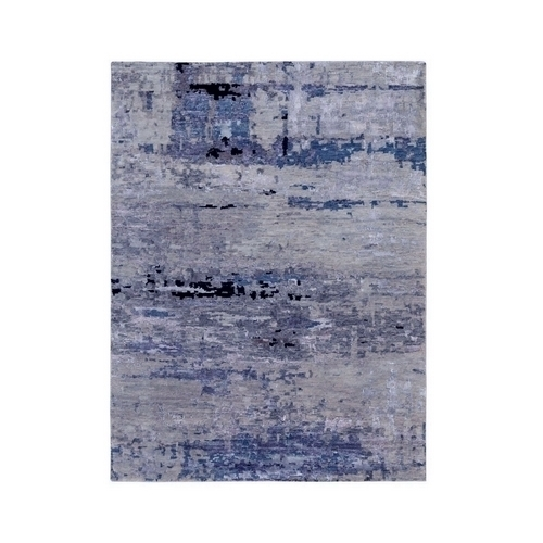Silver, Blue Wool & Silk Abstract Design Modern Hand Knotted Oriental Rug