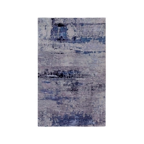 Abstract Design Silver-Blue Modern Hand Knotted Wool & Silk Hi-Low Pile Oriental Rug