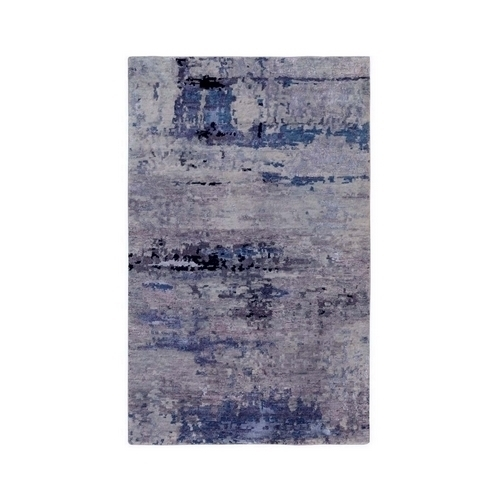 Wool & Silk Abstract Design Modern Silver, Blue Hand Knotted Hi-Low Pile Oriental Rug