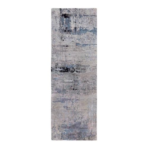 Wool & Silk Abstract Design Modern Silver, Blue Hand Knotted Oriental Runner Rug