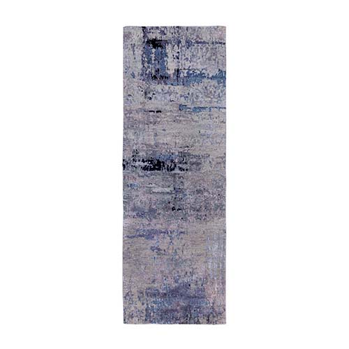 Silver, Blue Wool & Silk Abstract Design Hand Knotted Hi-Low Pile Oriental Runner Rug