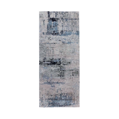 Abstract Design Silver-Blue Hand Knotted Modern Wool & Silk Oriental Runner Rug