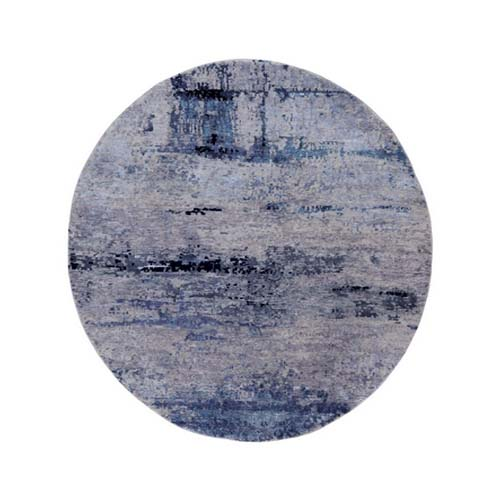 Round Wool & Silk Abstract Design Hi-Low Pile Silver, Blue Hand Knotted Oriental Rug