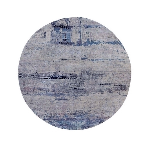 Abstract Design Silver-Blue Hand Knotted Wool & Silk Modern Round Oriental Rug