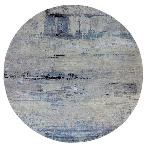 Wool & Silk Abstract Design Hi-Low Pile Silver, Blue Hand Knotted Oriental Round Rug
