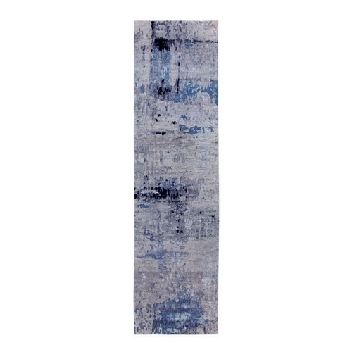 Abstract Design Silver- Blue Modern Hand Knotted Wool & Silk Oriental Runner Rug