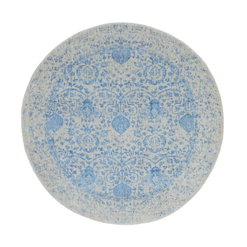 Blue Jacquard Hand Loomed Wool and Art Silk Pomegranate Design Round Oriental