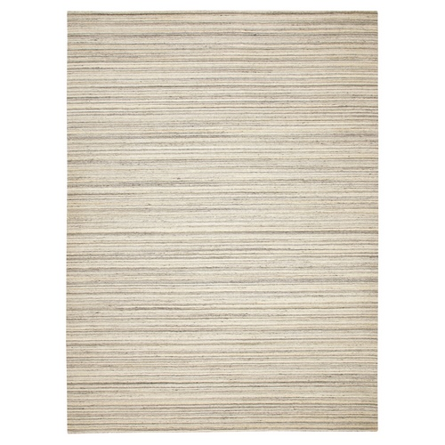 Beige Hand Loomed Natural Wool Plain Modern Oriental Rug