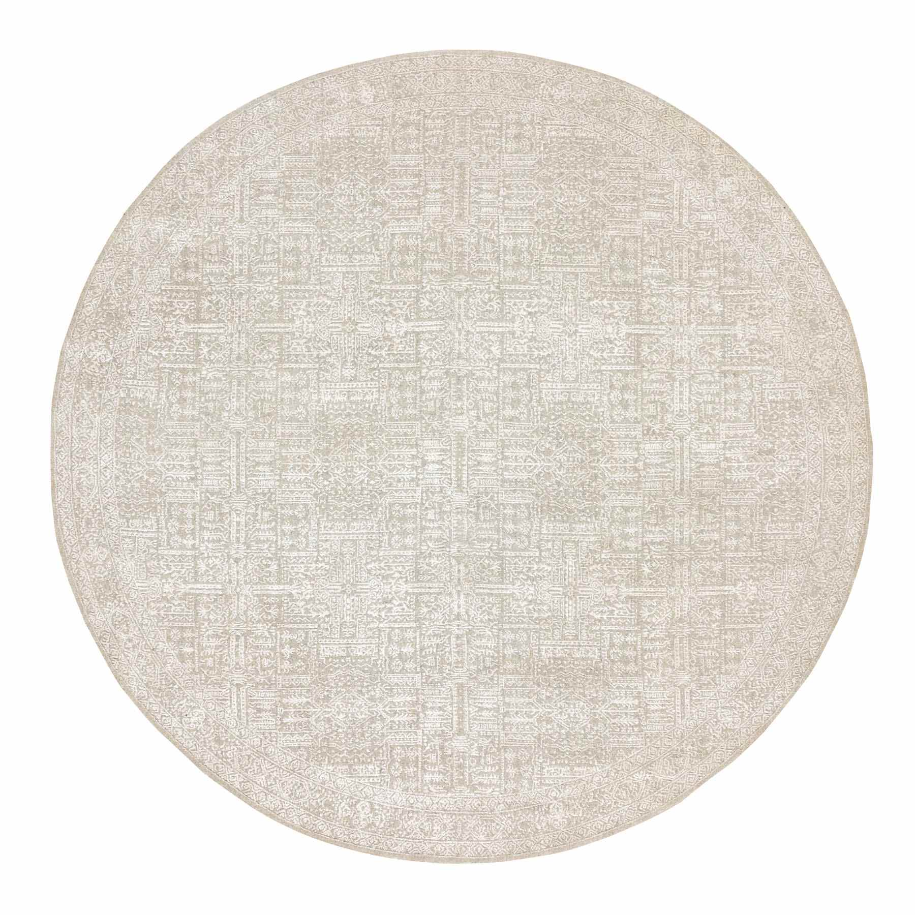 Beige Fine jacquard Hand Loomed Round Wool And Art Silk Modern
